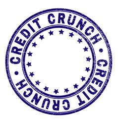 Grunge textured credit crunch round stamp seal vector