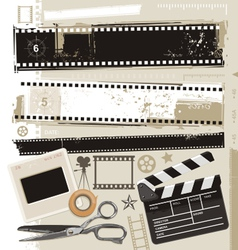 Grungy film and movie design elements vector