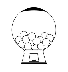 Gums crystal ball dispenser in black and white vector