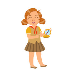 happy and laughing scout girl with a compass a vector image