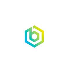 Hexagon letter b logo icon design vector