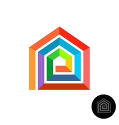 house design colorful logo rainbow color stripes vector image