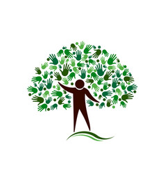 Human figure tree with hands network logo vector