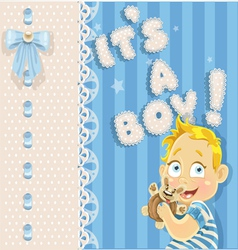 Its a boy blue openwork announcement card vector