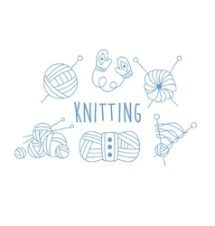 Knitting Related Icon Set With Text vector
