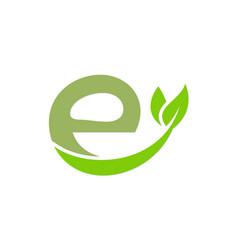 letter e organic green leaf logo vector image