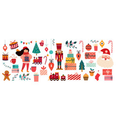 merry christmas vintage banner vector image