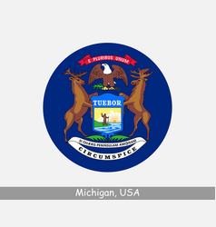 Michigan round circle flag vector