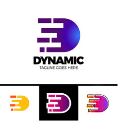 motion speed line letter d logo design template vector image