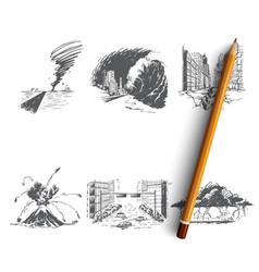 natural disaster - tornado tsunami vector image