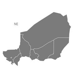 Niger regions map grey vector