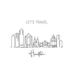 One single line drawing houston city skyline vector