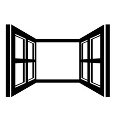 Open window frame icon simple black style vector