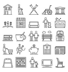Pension icon set outline style vector
