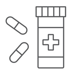 pills thin line icon pharmacy and medicine vector image