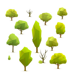 polygon trees set vector image
