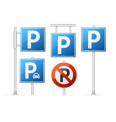 realistic detailed 3d parking road sign set vector image