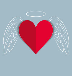 red paper love heart with hand drawn wings and vector image