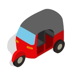 Red tuk tuk icon in isometric 3d style vector image