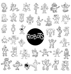 robot characters big set vector image
