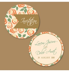 round wedding vintage invitation card vector image