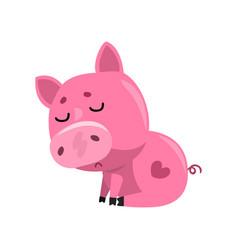 Sad pink cartoon baby piglet sitting cute little vector