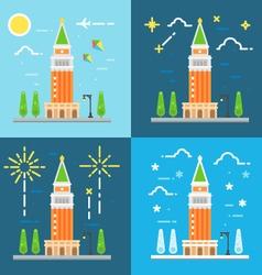 Saint Marks campanile flat design vector image
