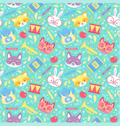 school seamless pattern for children vector image