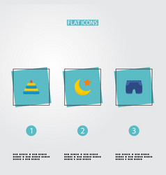 set of child icons flat style symbols with moon vector image