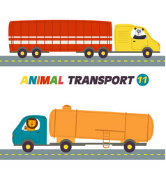 set of isolated transports with animals part 11 vector image