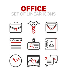 Set of office or business icons vector