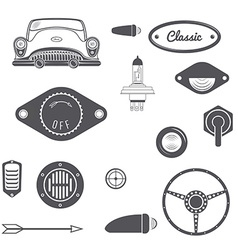 Set of retro car design vintage element vector