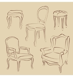 Set sketched armchairs and chairs vector