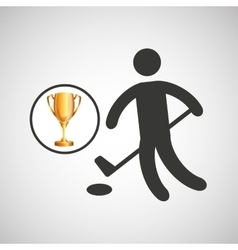 Silhouette man golf athlete trophy vector