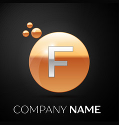 silver letter f logo gold dots splash and bubble vector image