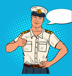 Smiling sea captain showing thumb up pop art vector