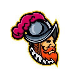 spanish conquistador head mascot vector image