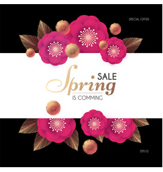 spring sale flower paper cut elegant design vector image