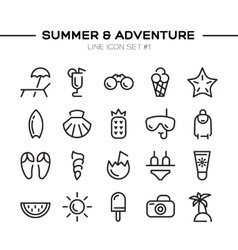 Summer and adventure icons set vector