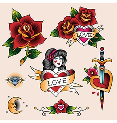 Tattoo set love vector