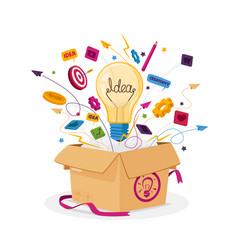 Think outside box business concept open carton vector