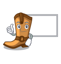 Thumbs up with board cowboy boots in the shape vector