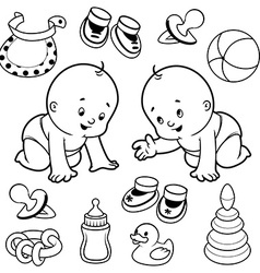 Two toddler in diapers with baby items vector image