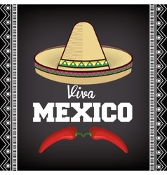 Viva mexico sombrero poster icon vector