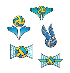 Volleyball sports symbols and icons vector