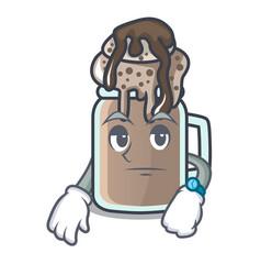 Waiting milkshake mascot cartoon style vector