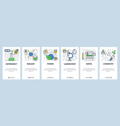Web site onboarding screens science experiment in vector