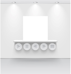 White room with shelf and media interface vector image