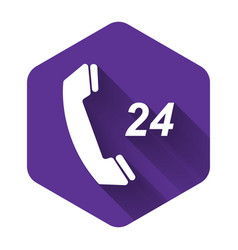 White telephone 24 hours support icon isolated vector