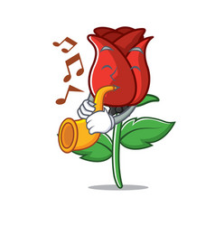 With trumpet red rose mascot cartoon vector